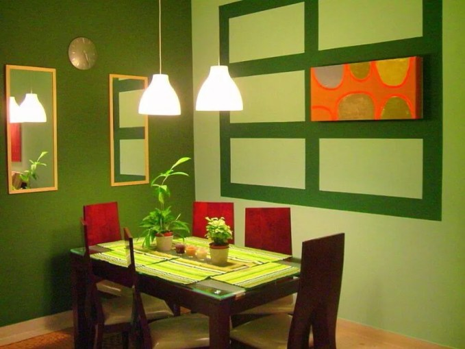 fancy small green dining room