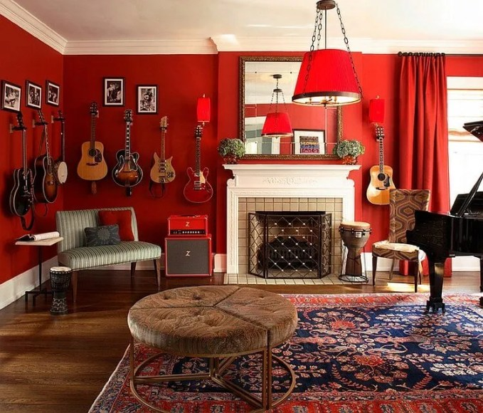 Eclectic Red Living Room