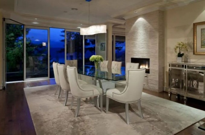 Elegant Dining Room with Fireplace