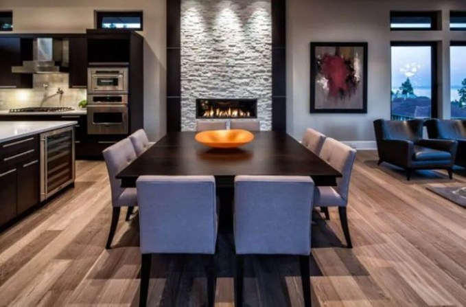 Modern Dining Room with Fireplace