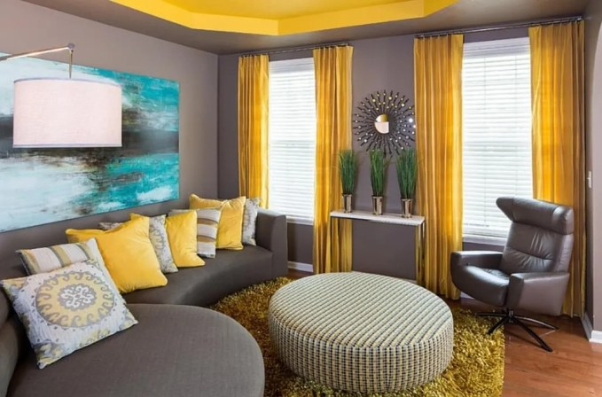 Beautiful Gray and Yellow Living Room