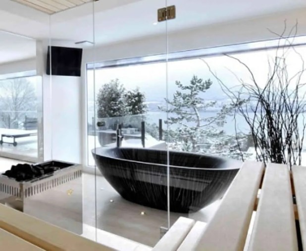 Black Wooden Bathtub