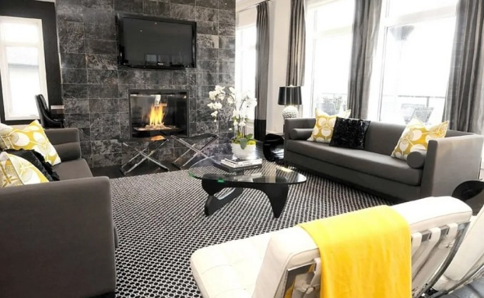 Bold Gray and Yellow Living Room