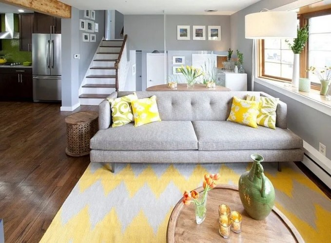 Bright Gray and Yellow Living Room