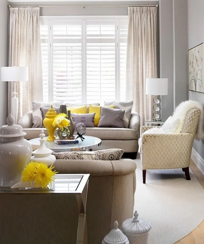 Soft Gray and Yellow Living Room