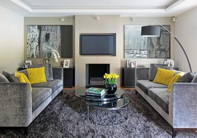 Stylish Gray and Yellow Living Room
