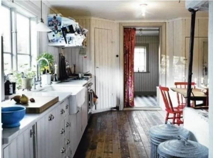 White Wooden Scandinavian Rustic Kitchen