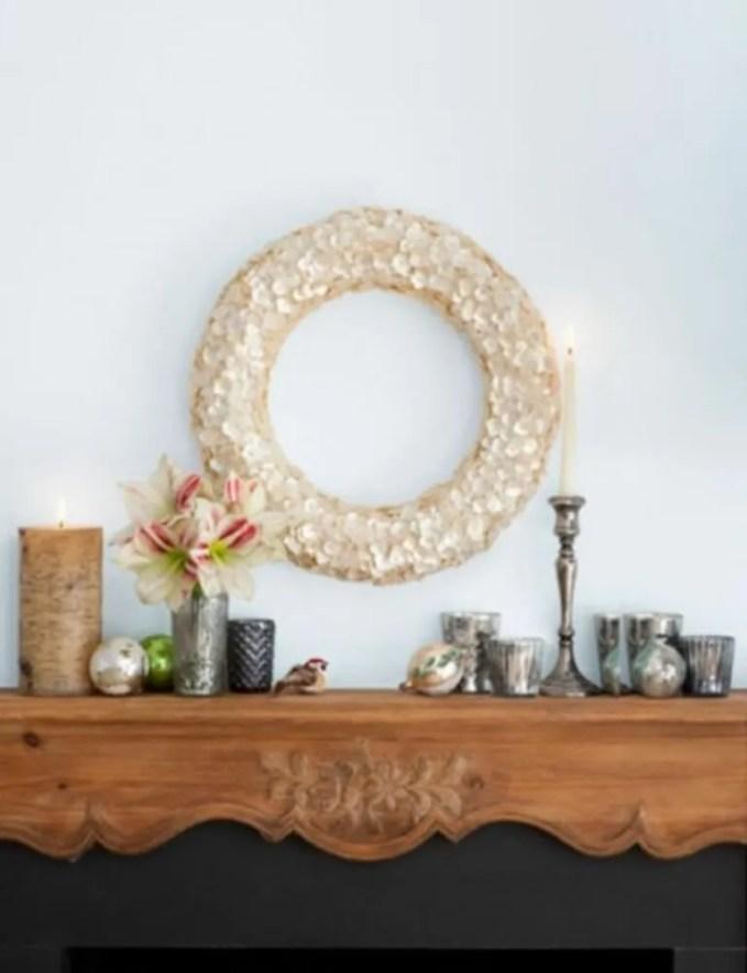 Minimalist Christmas Fireplace Mantel