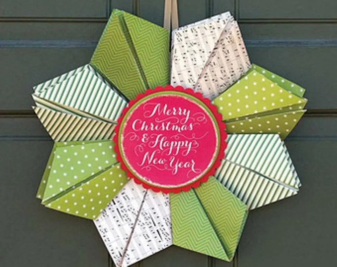 Origami New Year Wreath