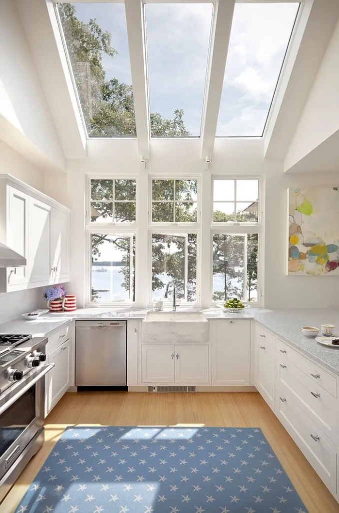 Airy Kitchen with Skylights