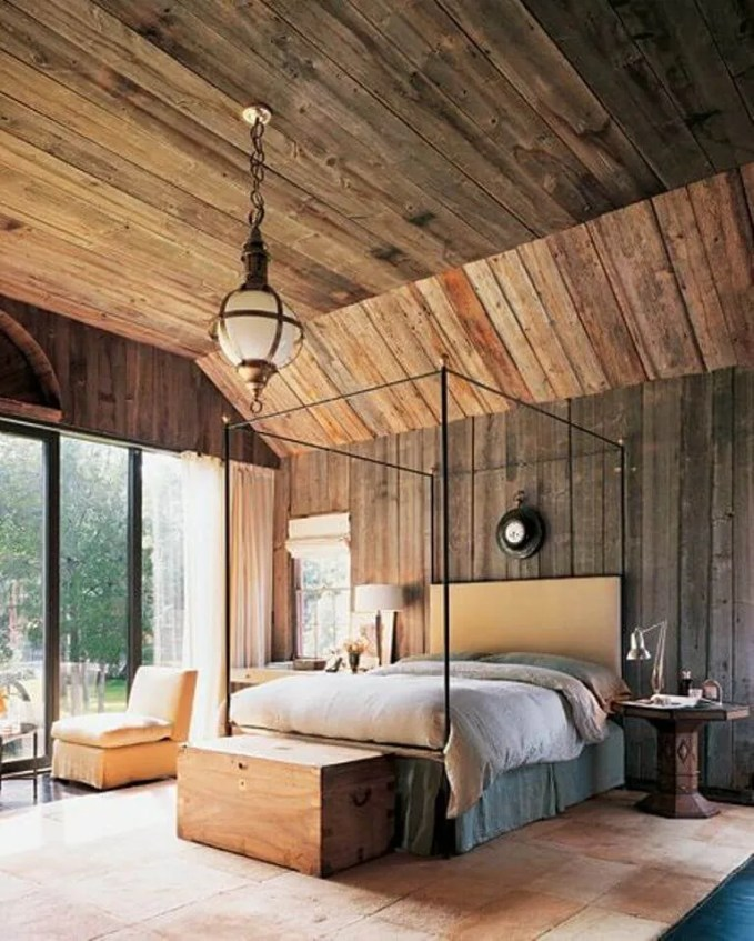 BEautiful Bedroom with Wood Paneling