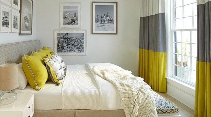 Bright Gray and Yellow Bedroom