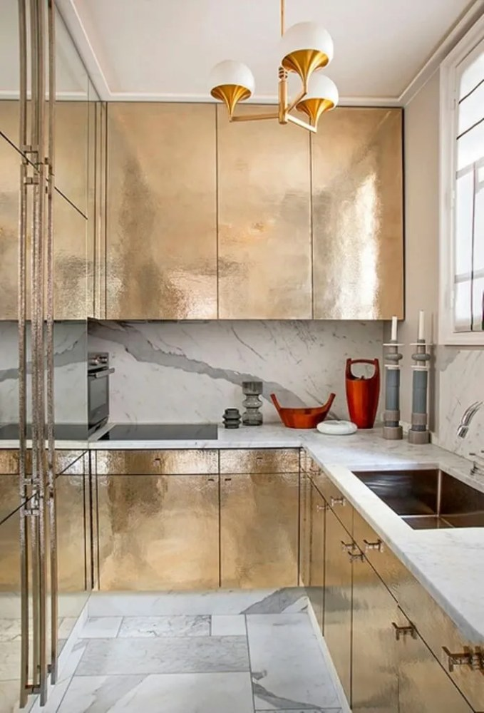 Briliant Kitchen with Brass Cabinets