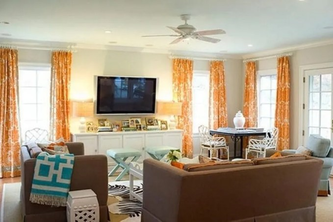 Charming Tangerine and White Living Room