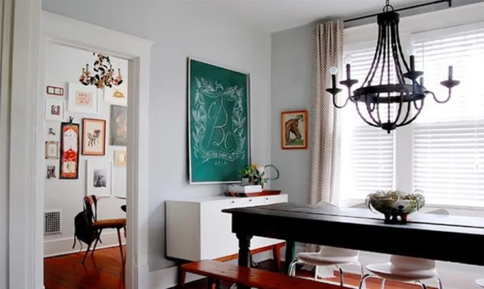 Chic Dining Room with Chalkboard Wall