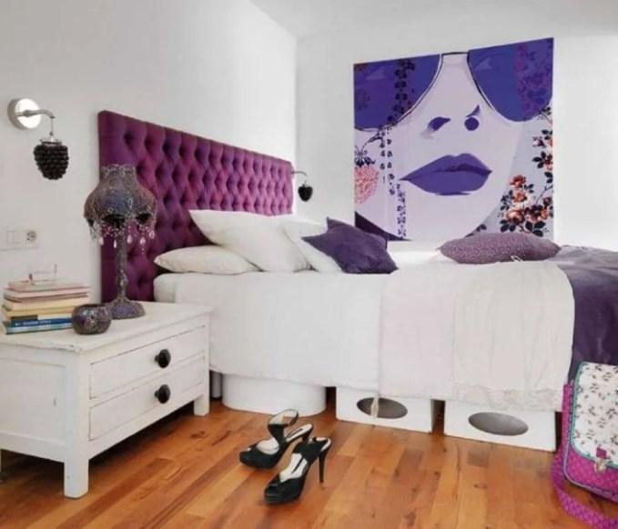 Chic Purple Tufted Headbord