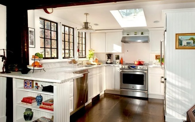 Cottage Kitchen with Skylights