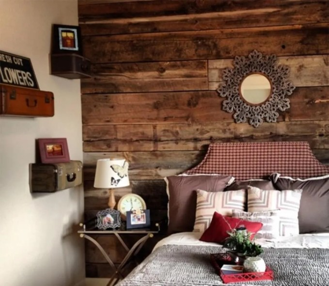 Country Bedroom with Wood Paneling