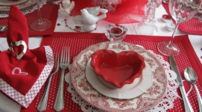 Cute Red Heart themed Valentine Table
