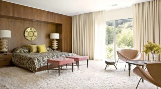 Mid Century Bedroom with Wood Paneling