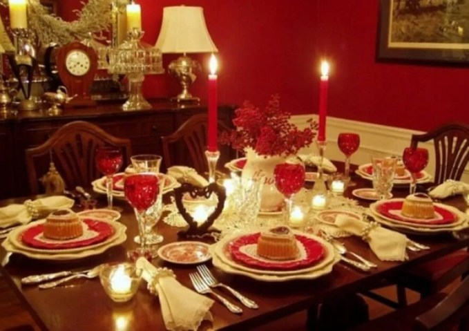 Romantic Red Table Setting