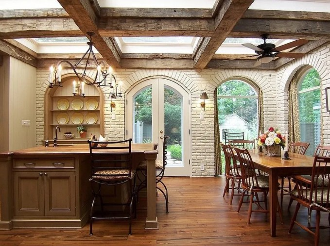 Rustic Kitchen with Skylights
