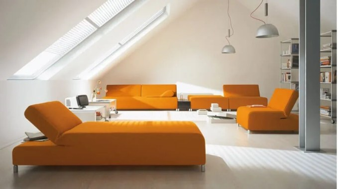 Sleek Tangerine and White Living Room