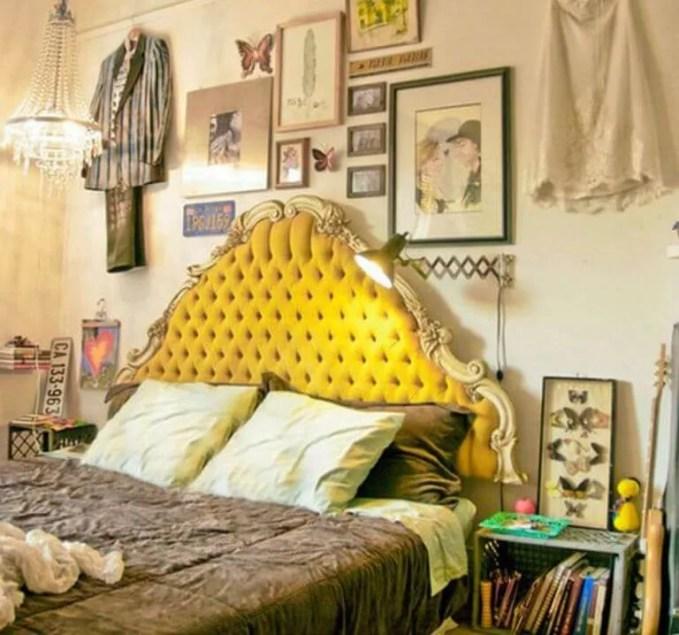 Yellow-velvet-Tufted Headbord