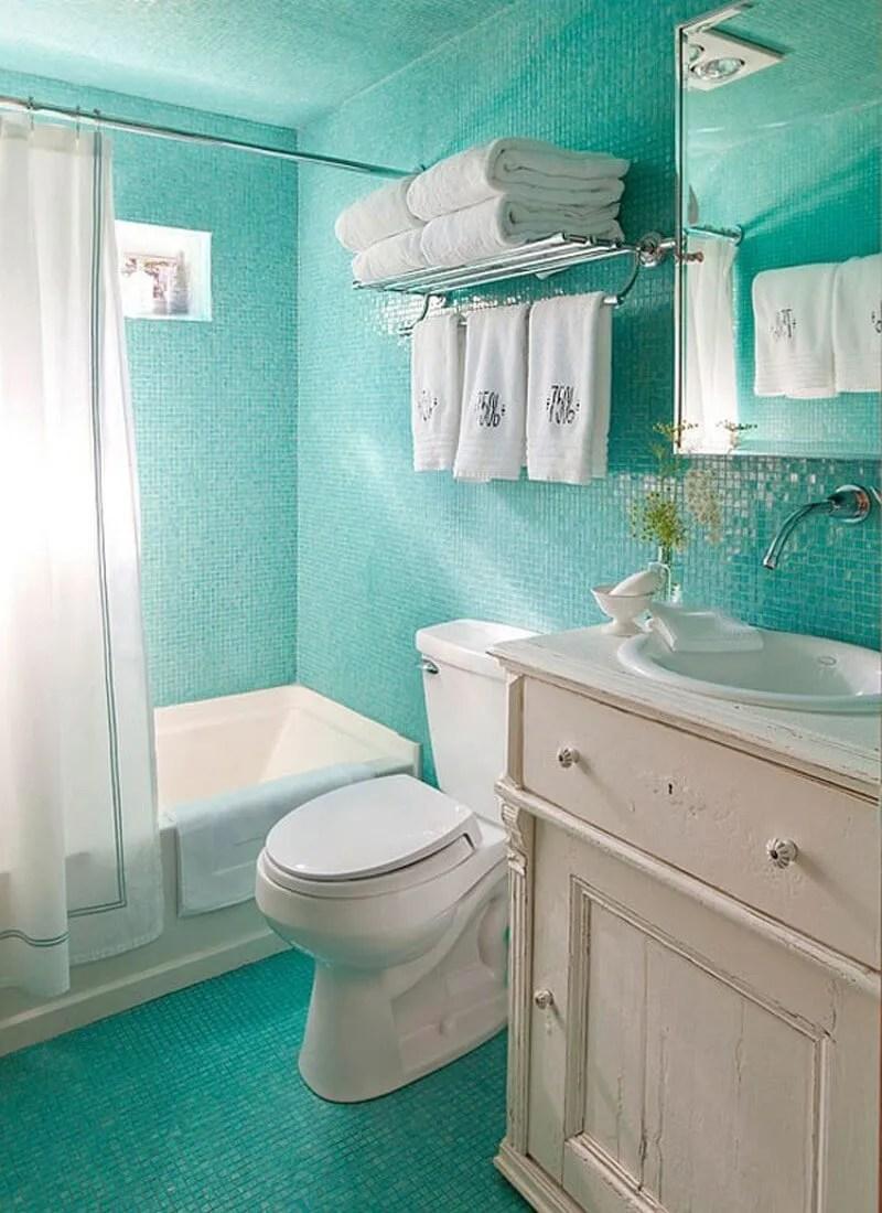 coral blue small bathroom design