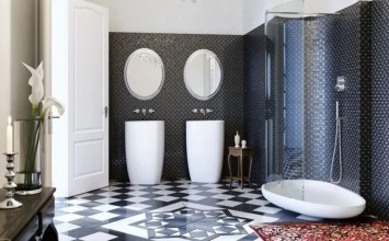 10 High Contrast Black and White Bathroom Ideas