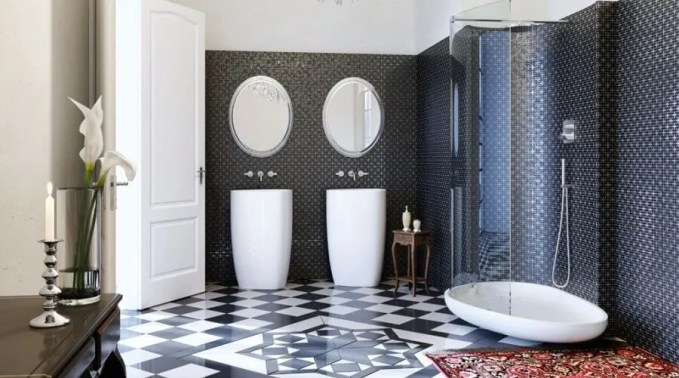 Art Deco High Contrast Bathroom