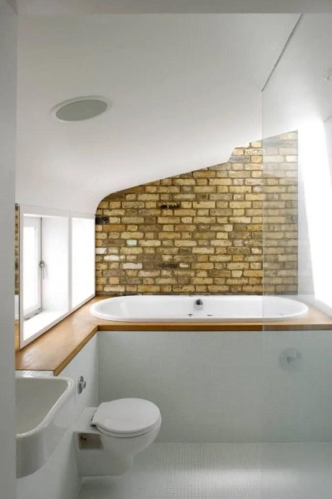 Attic Bathroom with Brick Walls