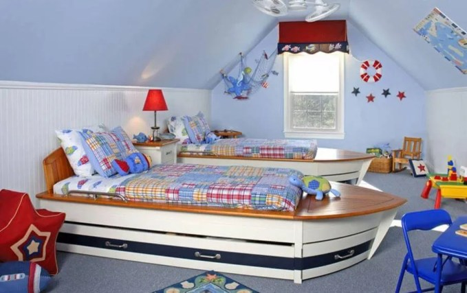 Attic Pirate Themed Kid's Bedroom