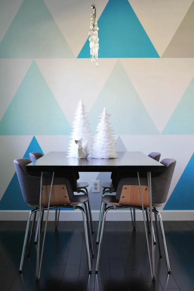 Contemporary Dining Room with Geometric Wallpaper
