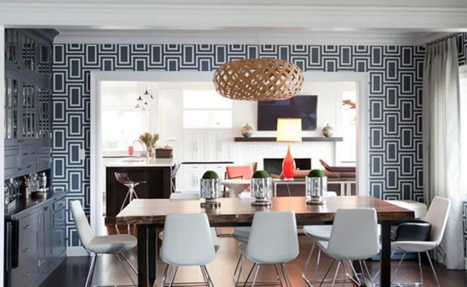 Contemporary-Dining-Room-with-Geometric-Wallpaper