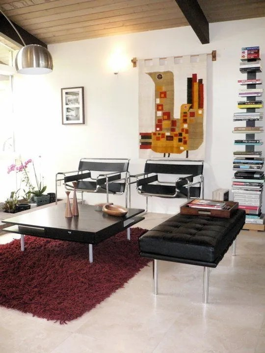 Contemporary Living Room with Marsala Rug