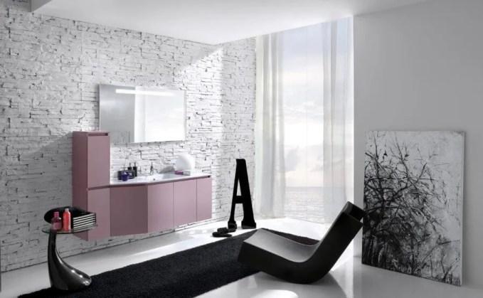 Fancy Bathroom with Brick Walls