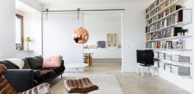 Homey Living Room with Copper Pendant