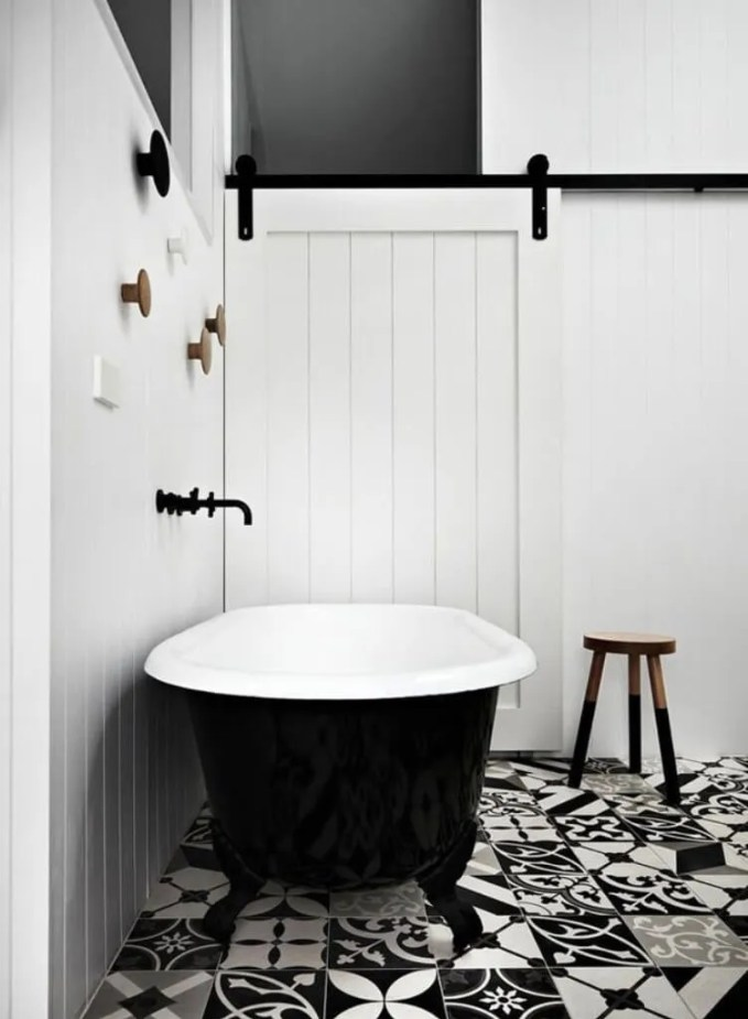 Industrial Chic High Contrast Bathroom