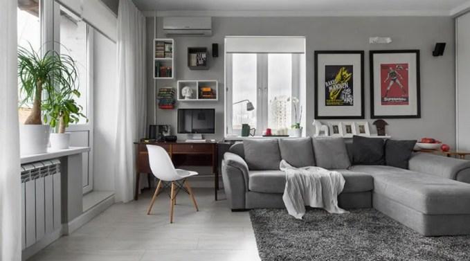 Ivory Living Room with Flokati Rug