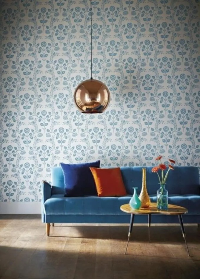 Mid Century Modern Living Room with Copper Pendant