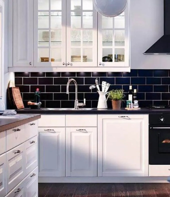 Navy Blue Kitchen with Subway Tile