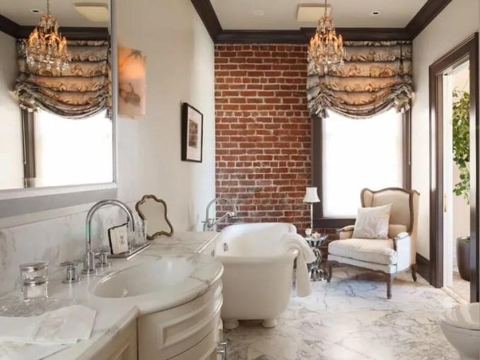 Splendid Bathroom with Brick Walls