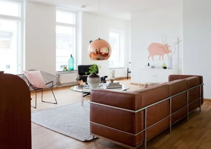 Super Chic Living Room with Copper Pendant