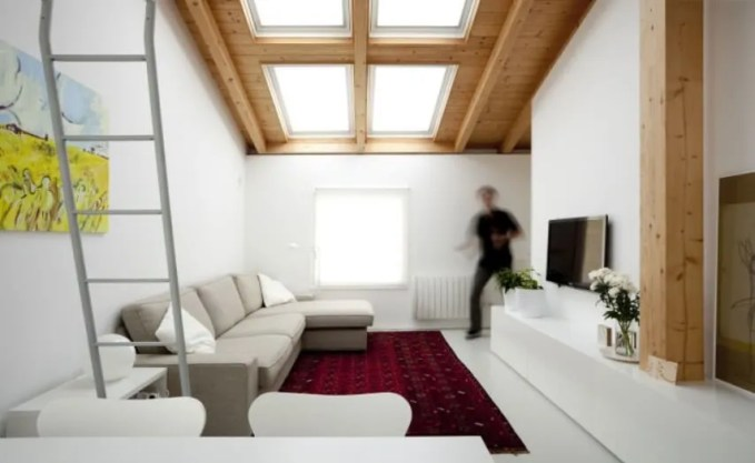 Attic Living Room with skylight