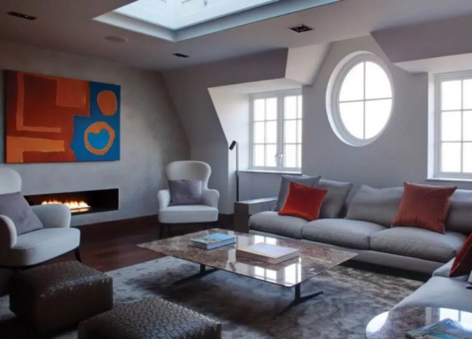 Bright Living Room with skylight