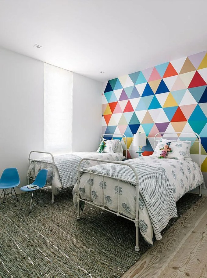 Cheery Colorful Geometric Accent Wall