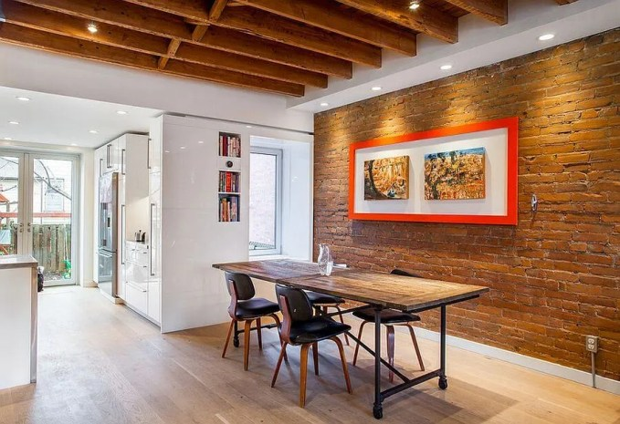 Contemproary Dining Room with Brick Walls
