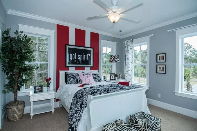 Eclectic Bedroom with Bold Stripes