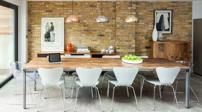 Modern Dining Room with Brick Walls